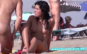 Closeup naturist beach hidden cam..