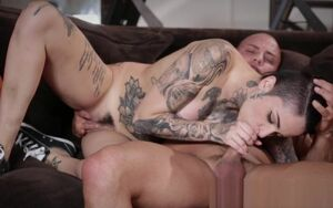 Tatted young lady tugs fuck-stick for..