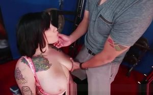Huge-titted dark haired bitch inhaling..